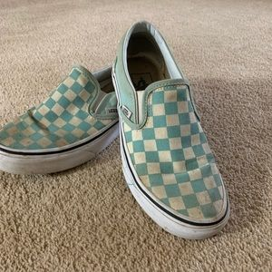 Teal Checkered Vans. Size 4.5 in men's.